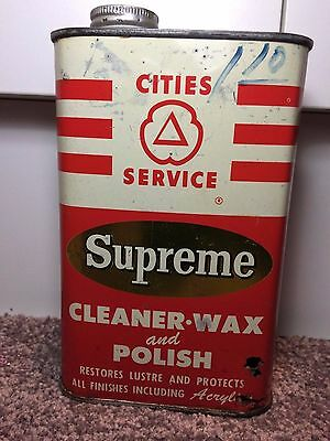 Antique CITIES SERVICE Supreme Oil Tin Vintage