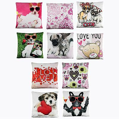 Luxury Cushion Cover Digital Printed Square Pillow Case Animal Love Theme Design