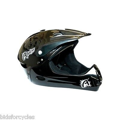 Kids Stunt Bicycle Cycle Bmx Mtb Bomber Mountain Bike All Black Full Face Helmet