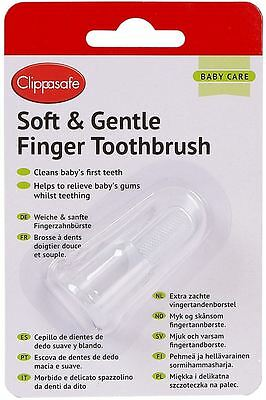 Clippasafe SOFT & GENTLE FINGER TOOTHBRUSH Baby/Toddler Bath Time Hygiene