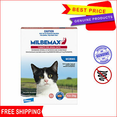 Milbemax Allwormer Tablets For Cats 0.5 To 2 Kg 2 Tablets Worm treatment for Cat