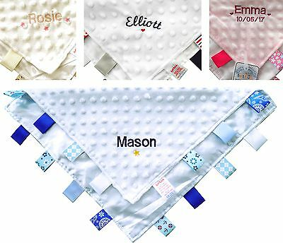 Personalised Embroidered Baby Comforter Taggies Comfort Blanket Toy Birth Gift