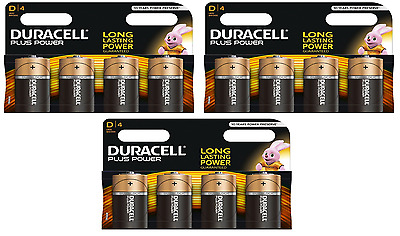 12 x Duracell D Size Plus Power Alkaline Batteries (LR20, MN1300, MX1300, Mono)