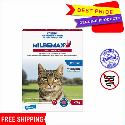 Milbemax Allwormer Tablets For Cats Over 2 Kg 2 Tablets Worm treatment for Cat