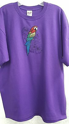 Tropical Parrot, Bird, Macaw Embroidered on a XLarge Purple T-Shirt