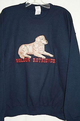 Golden Retriever Embroidered On A Large Navy Crewneck Sweatshirt