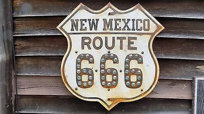 """1930s STYLE ROUTE 666/NEW MEXICO SHIELD SIGN W/1"""" CATSEYES 2'X2' STEEL GARAGEART"""