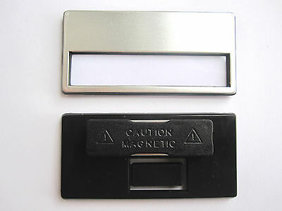 10 x High Valued Plastic Name tag with Magnet silver colour