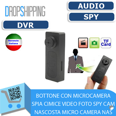 Bottone Con Microcamera Spia Cimice Video Foto Spy Cam Nascosta Micro Camera Nas