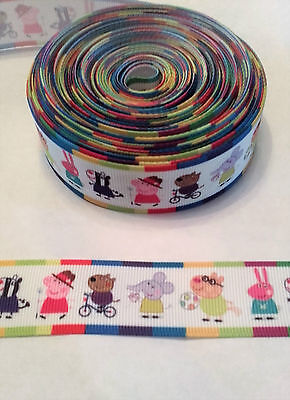 Cute  Peppa Pig & characters ribbon, 25mm ( 1 meter) for cakes,crafts & bows