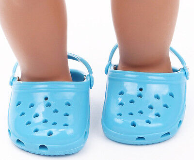 Scarpe tipo crocs turchese for American Girl Doll 46 cm shoes