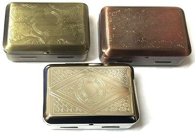 DEEP STRONG SMALL METAL TOBACCO STASH SMOKERS HINGED TIN BOX With Paper Holder
