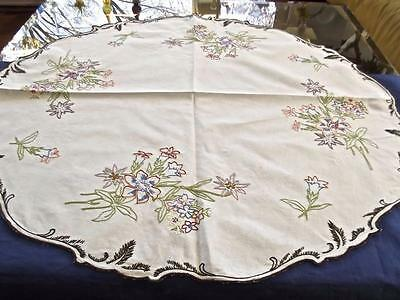 "Antique Linen Hand Embroidered 30""Round Bridal Centerpiece Doily Alpine Flowers"