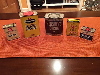 Lot of 4 Vintage Spice Tins + Vintage Hershey's Cocoa Tin, Collectible
