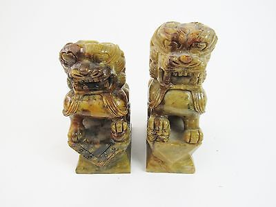 Large Pair Antique Foo Dog Fu Lions Bookends Hand Carved Granite? Chinese Temple
