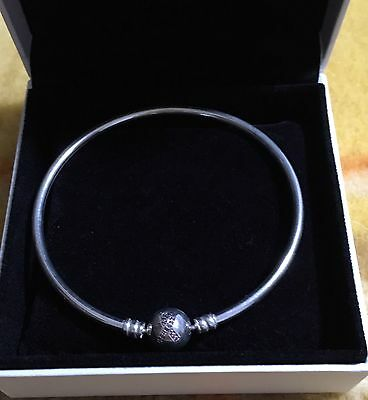 Stirling Silver Pandora Bangle ~ 2015 Limited Edition Cancer Awareness ~ 20cm