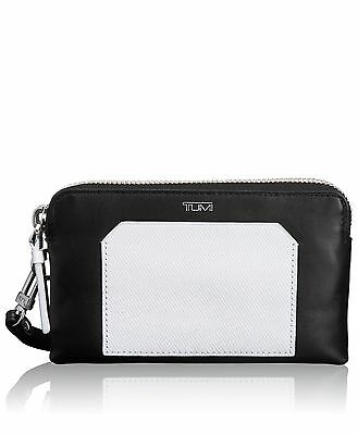 Tumi Prism Double Zip Leather Phone Case, Black/White, One Size FREE SHIPPING