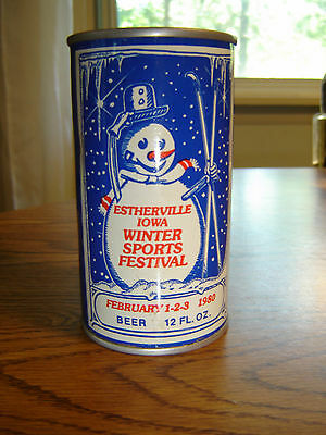 Vintage Estherville Iowa Winter Sports Festival Ad Air Sealed EMPTY SS Beer Can