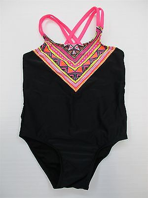 CIRCO #S177 Girl's Toddler Swimwear Size 4T Bohemian One-Piece Black Swimsuit