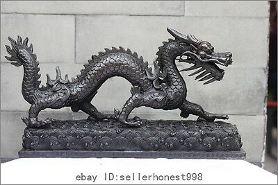 Chinese Pure Bronze Feng Shui Lucky Dragon Royal Representative Decor statue
