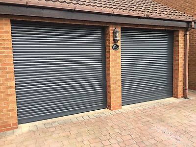 Anthracite Garage Door Roller 7Ft X 7Ft Insulated With 2 Remotes Electric New