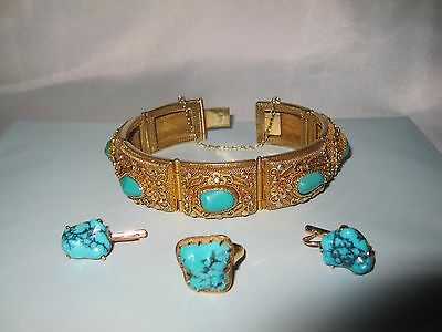 Vtg. Turquoise Gold Earrings Ring Antique Chinese Silver Gilt Filigree Bracelet