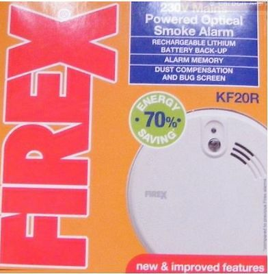 FIREX KIDDE KF2R KF20R Optical Smoke Fire Alarm + Lithium Battery [Mains 230v]