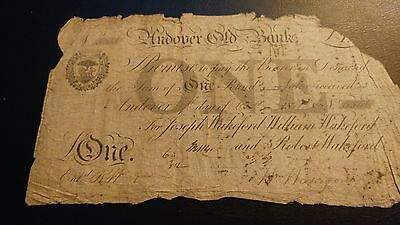 EARLY 19th CENTURY ANDOVER OLD BANK POUND NOTE No 534