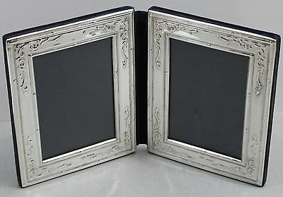 Sterling Silver Hallmarked Birmingham Folding Double Picture Photo Frame