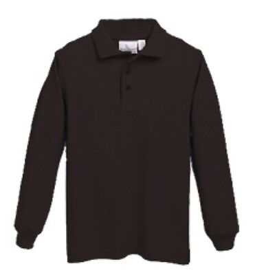 Long Sleeve Pique Knit School Uniform Polo Shirt - Youth and Adult