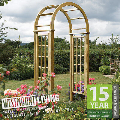 New Wooden Garden Round Top Arch Curved Rose Trellis Archway PRESSURE TREATED