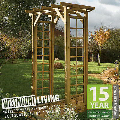 New Wooden Garden Square Top Rose Arch PRESSURE TREATED Wood Trellis Archway