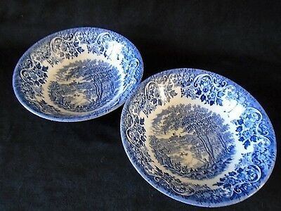 Set of 2 Churchill England English Scene 15cm Bowls Blue White