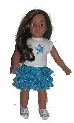 Gonna balze turchese/top stella paillettes/ for American Girl Doll 46 cm