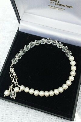 sterling silver pearl and crystal bracelet