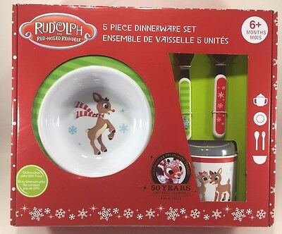Kids Preferred 5-Piece Rudolph Dish Set -Includes Plate, Bowl, Cup, Fork & Spoon