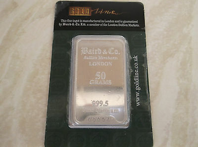 Baird & Co. 50 Gram Platinum Bullion Bar 999.5 Sealed