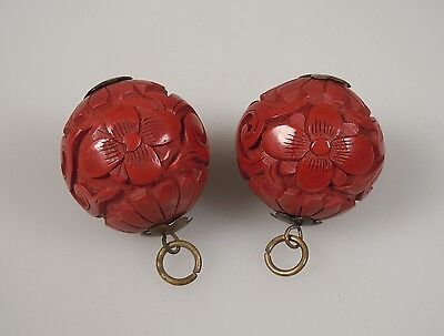 Pair Chinese Red Cinnabar Lacquer Bead Buttons