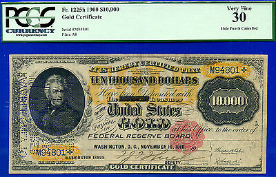 FR-1225h 1900 $10,000 Gold Certificate (( RARE  )) PVGS Very-Fine 30 # M94801
