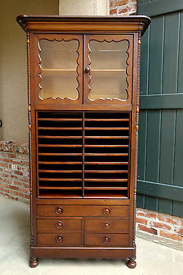 Antique English MAHOGANY Bookcase Music Office Cabinet Barrister Lawyer ON SALE