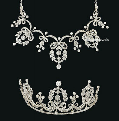 Victorian Inspired 22.60Ct Rose Cut Diamond Jewelry  Pearl Tiara & Necklace