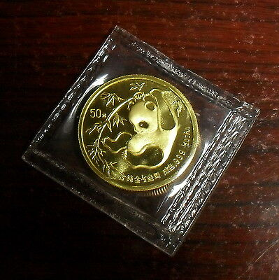 1985 China 1/2 oz. Gold Panda 50 Yuan, Mint Sealed
