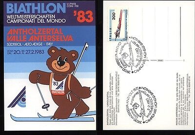1983 Postcard Biathlon Anterselva Stamped Fdc (B20)