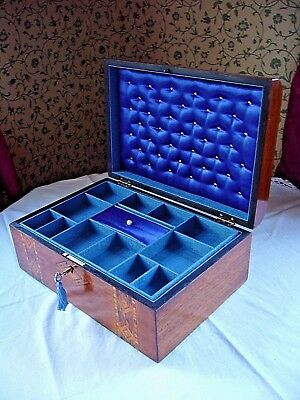 Antique Victorian Walnut And Tunbridge Ware Inlaid Domed Jewellery Box