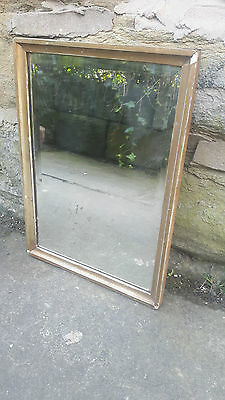 Vintage Antique Retro French Wall Hanging Mirror Gilt Gilded Gold Framed Foxed