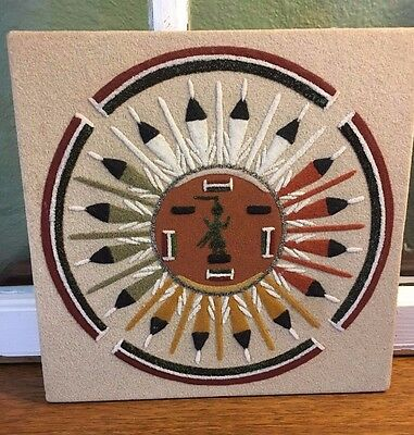 """Vintage Navajo, Native American sand painting Sun and Eagle, 10"""" x 10"""" Cuba NM"""