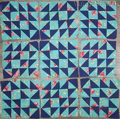 Pretty Set 9 Floral QUILT Blocks Vintage 30-40s Farmhouse Fresh