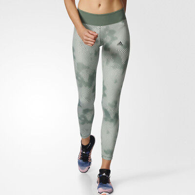 Adidas Ultimate Womens Green Climalite Long Training Tights Bottoms Pants