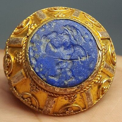 Lapis lazuli Ancient Stone Sword Fighter Gold Layered Silver Ring # v