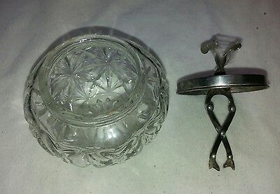 Vintage sugar bowl chrome lid and integrated tongs